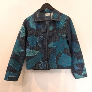 Chico's 0 Denim Applique Turquoise Jacket